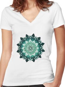 Mandala: Teal/Blue  Women's Fitted V-Neck T-Shirt