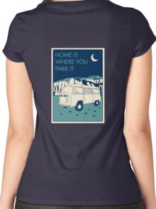 VW Bay Window Bus - Home Is Where You Park It Women's Fitted Scoop T-Shirt