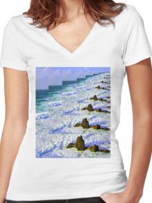 INFINITY SEA Women's Fitted V-Neck T-Shirt