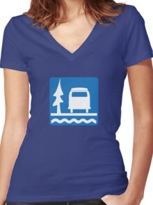 VW Bay Window Bus Camping Women's Fitted V-Neck T-Shirt