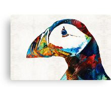 Colorful Puffin Art By Sharon Cummings Canvas Print