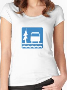 VW Vanagon Camping Women's Fitted Scoop T-Shirt