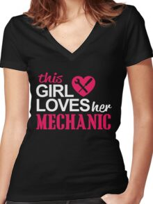 THIS GIRL LOVES HER MECHANIC Women's Fitted V-Neck T-Shirt