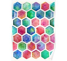 Hand Painted Watercolor Honeycomb Pattern Poster