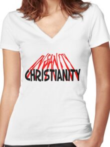 CHRISTIANITY / INSANITY (Light background) Women's Fitted V-Neck T-Shirt