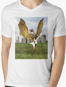 Stonehenge Dragon Mens V-Neck T-Shirt