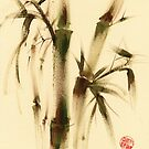 &quot;Awareness&quot; Sumi-e bamboo painting on paper by Rebecca Rees