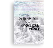 The eternal sunshine of the spotless mind Canvas Print