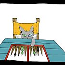 cat playing backgamon by Mavri  Gata