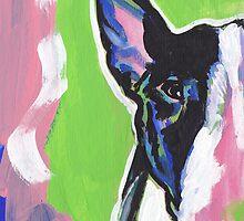 Bull Terrier Dog Bright colorful pop dog art by bentnotbroken11