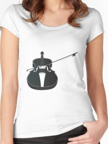 Black Violin Silhouette Women's Fitted Scoop T-Shirt