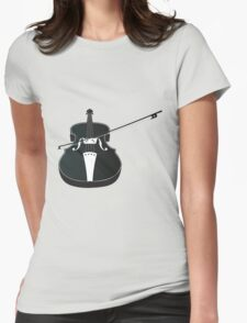 Black Violin Silhouette Womens Fitted T-Shirt