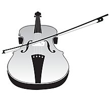Grey Violin Silhouette Photographic Print