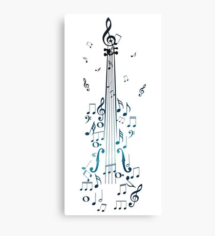 Blue Violin with Notes Canvas Print
