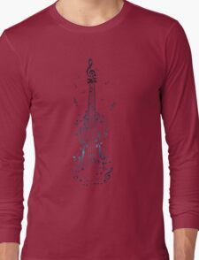 Blue Violin with Notes Long Sleeve T-Shirt