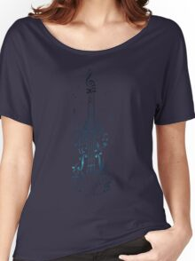 Blue Violin with Notes Women's Relaxed Fit T-Shirt
