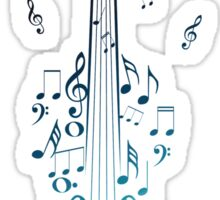 Blue Violin with Notes Sticker