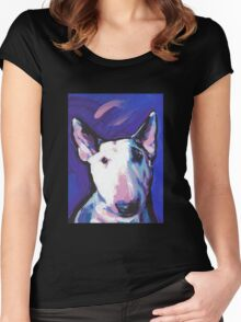 Bull Terrier Dog Bright colorful pop dog art Women's Fitted Scoop T-Shirt