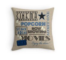 Movie Theater Cinema Admit one ticket Pillow-Blue Throw Pillow