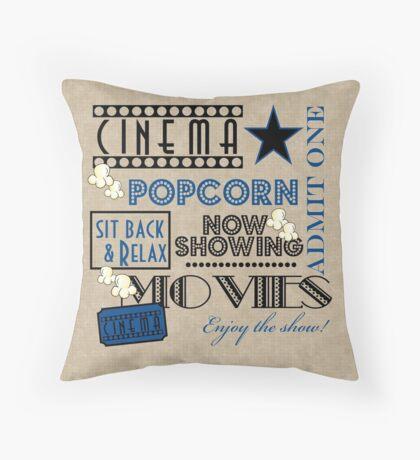 Movie Theater Cinema Admit one ticket Pillow-Blue Throw Pillow