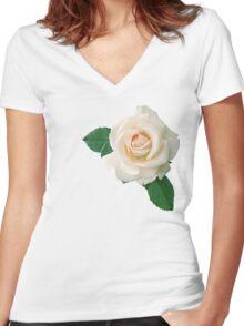 Gentle white rose Women's Fitted V-Neck T-Shirt