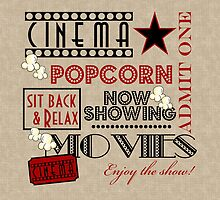 Movie Theater Cinema Admit one ticket Pillow-Red by littlebeane