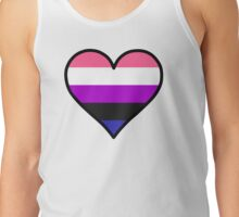 Genderfluid Heart in Black Tank Top