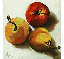 """""""Down on Fruit"""" - Pears & Apple Still Life Oil Painting Photographic Print"""