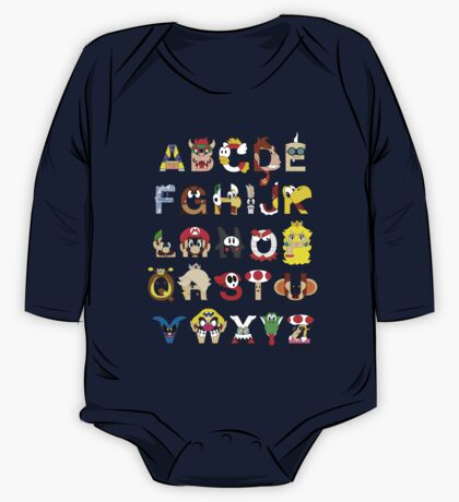 Super Mario Alphabet One Piece - Long Sleeve