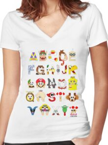 Super Mario Alphabet Women's Fitted V-Neck T-Shirt