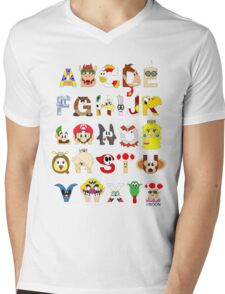 Super Mario Alphabet Mens V-Neck T-Shirt