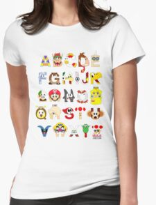 Super Mario Alphabet Womens Fitted T-Shirt