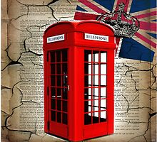 rustic grunge union jack retro london telephone booth by lfang77