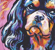 cavalier king charles spaniel Dog Bright colorful pop dog art by bentnotbroken11