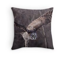 Dark Side Of  The Woods/ Great Gray Owl Throw Pillow
