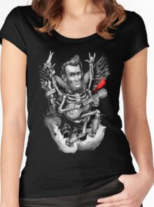 Rock N Roll Lincoln Drawing Women's Fitted Scoop T-Shirt