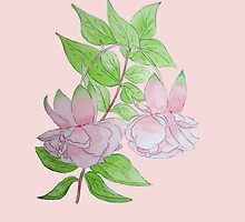Pink fuchsia with leaves water-color flower art  by pollywolly