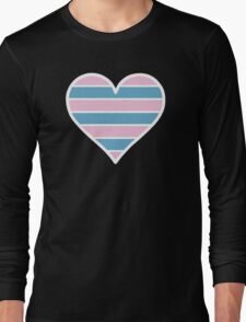 Transsexual Heart in White Long Sleeve T-Shirt