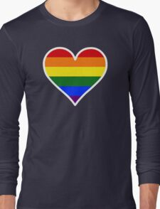 Homosexual Heart in White Long Sleeve T-Shirt