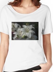 Sparkling White Oriental Lilies After a Rain Shower Women's Relaxed Fit T-Shirt