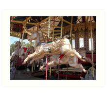 Round we go on our pretty ponies Art Print