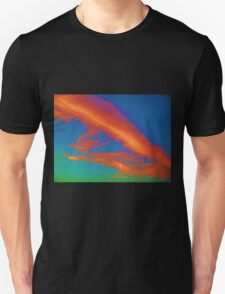 Abstract Red Blue and Green Sky Unisex T-Shirt