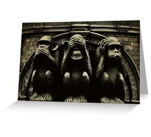 Three Wise Monkeys Greeting Card