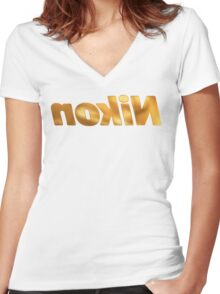 Nokin/Nikon Gold Mirror Women's Fitted V-Neck T-Shirt
