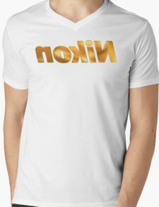 Nokin/Nikon Gold Mirror Mens V-Neck T-Shirt