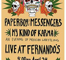 Paperboy and the Messengers Mexican Wrestling by Alexa Harwood-Jones
