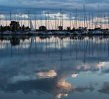 Reflecting on Boats and Clouds - Blue Marina  by Georgia Mizuleva