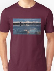 Reflecting on Boats and Clouds - Blue Marina  T-Shirt