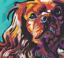 cavalier king charles spaniel Dog Bright colorful pop dog art by bentnotbroken11