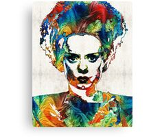 Frankenstein Bride Art - Colorful Monster Bride - By Sharon Cummings Canvas Print